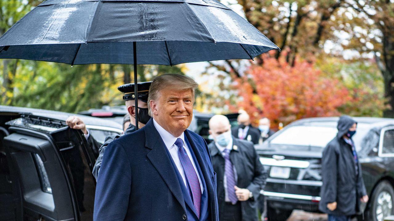 Trump, el miércoles a su llegada al cementerio de Arlington