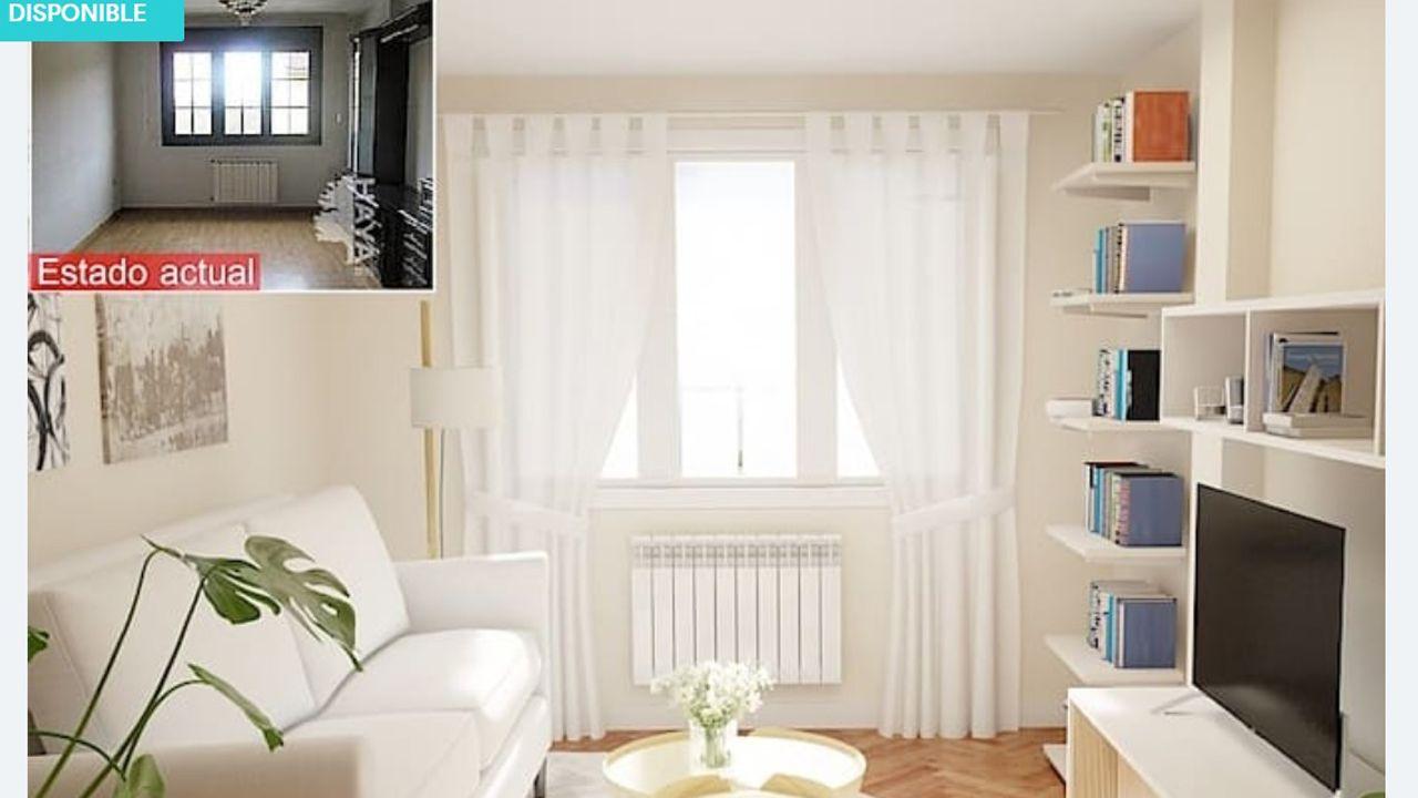 Imagen del salón de uno de los pisos ofertados por Liberbank en Asturias