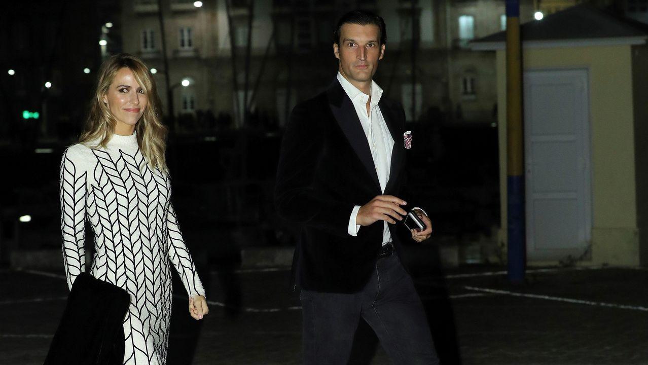 Rafael Medina y Laura Vecino a su llegada al Real Club Náutico.