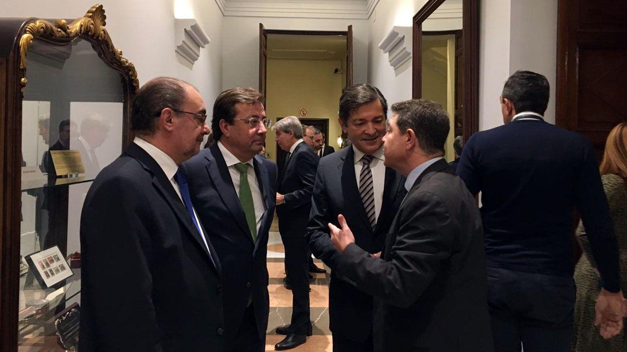Los presidentes de Aragón, Francisco Javier Lambán; Extremadura, Guillermo Fernández Vara; Asturias, Javier Fernández, y Castilla la Mancha, Emiliano García-Page.