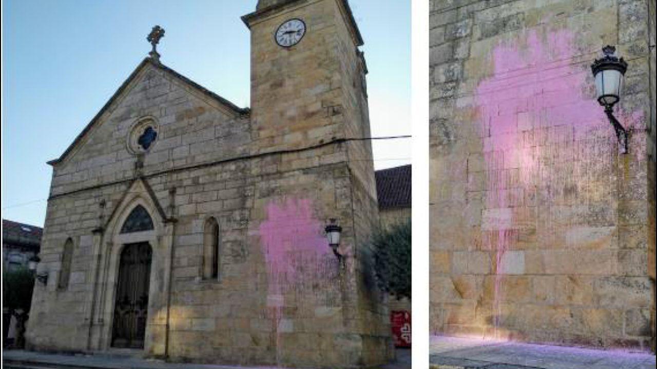 Una niña de tres años ingresada tras consumir éxtasis.La fachada de la Iglesia de Santa María con pintadas rosas