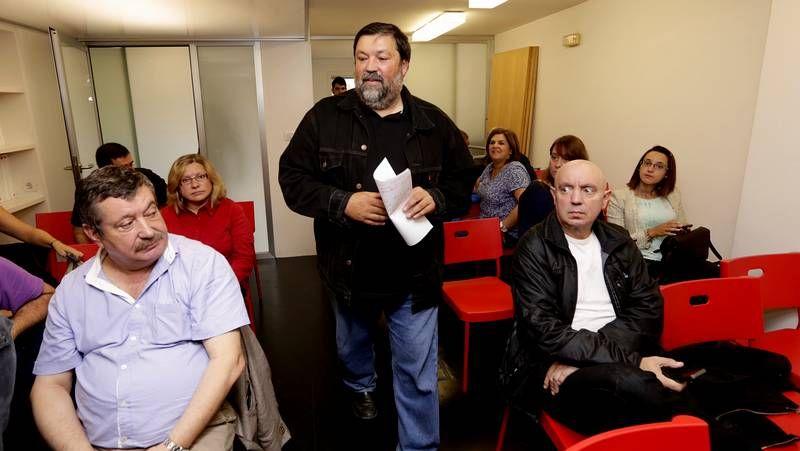 Caamaño, este mediodía en la sede provincial del PSOE