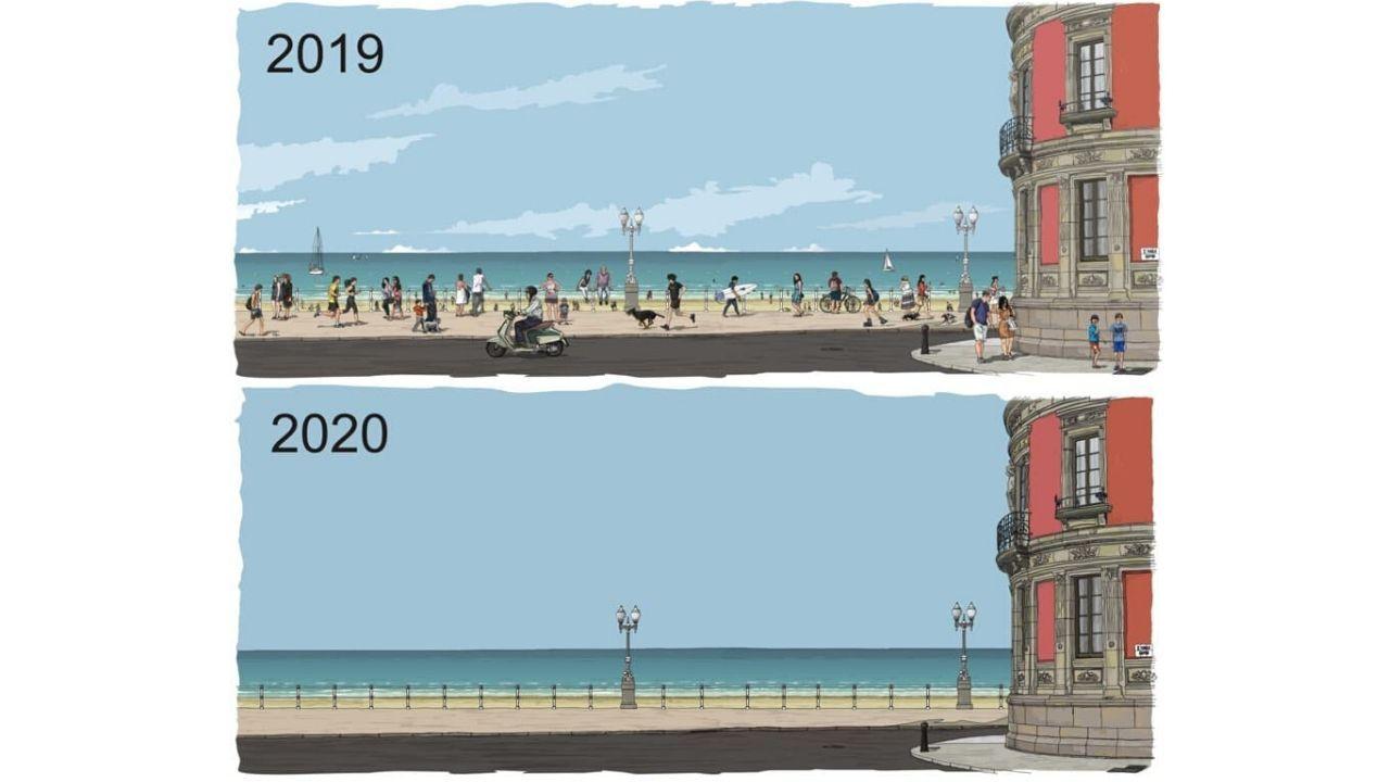El Muro de San Lorenzo, visto desde Capua, antes y después de la epidemia de coronavirus, en las dos ilustraciones del dibujante gijonés Manuel Iglesias