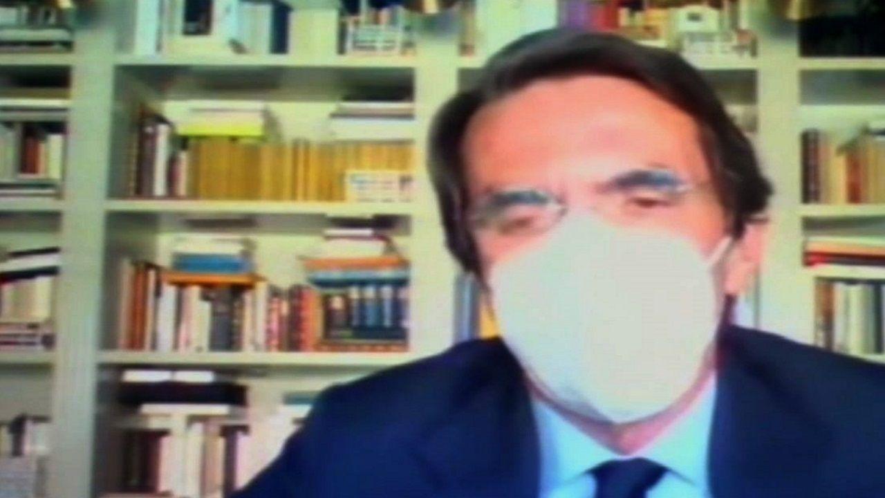 Obras en la variante de Pajares.Aznar, durante su comparecencia por videoconferencia en el juicio por la caja B del PP