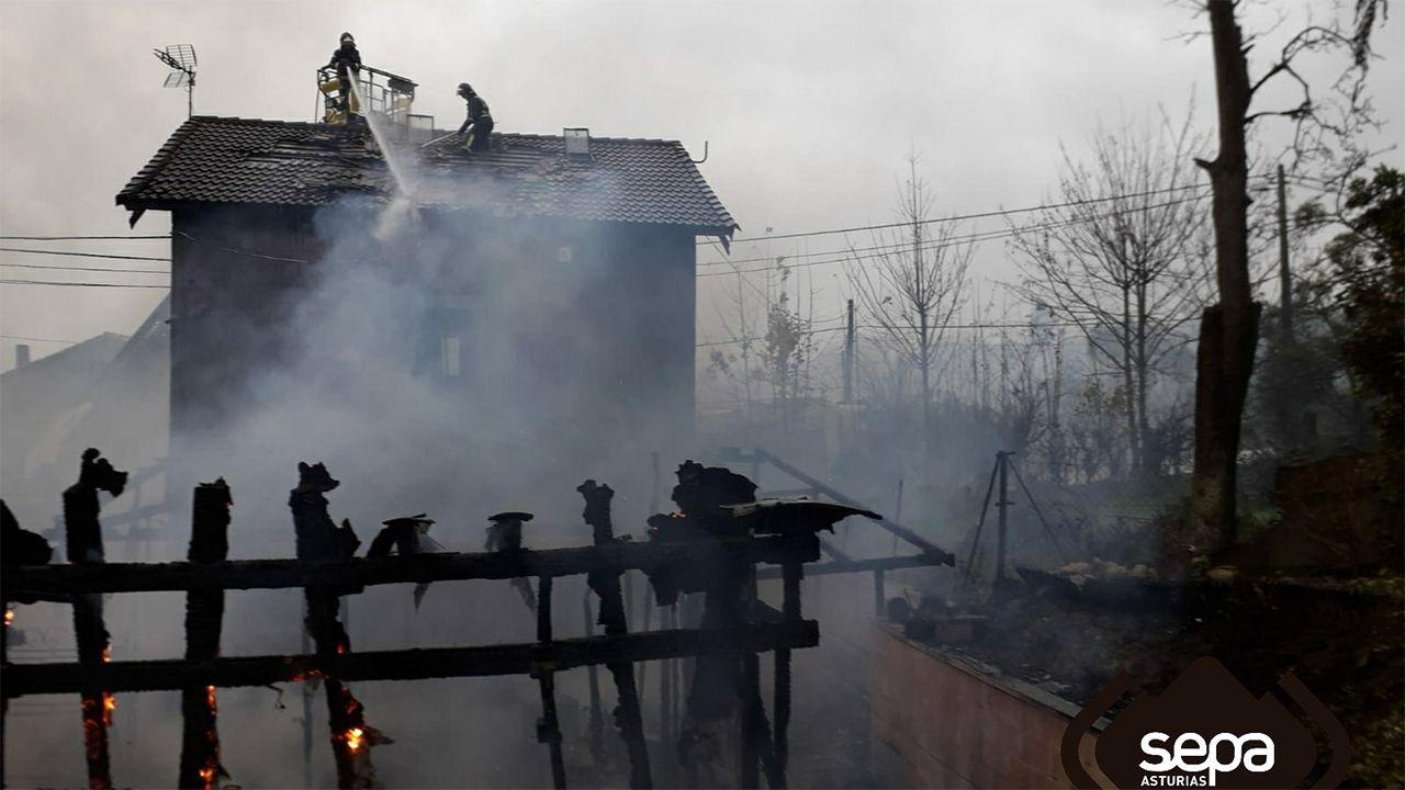Bomberos del SEPA apagan el incendio declarado en una vivendia de Fozana en Siero