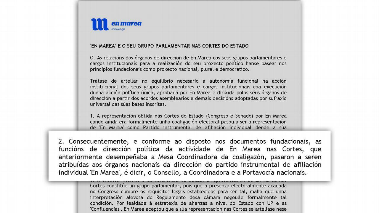 El documento, «Tese Beiras». Fue Beiras el que propuso que la dirección del grupo recayese en el partido