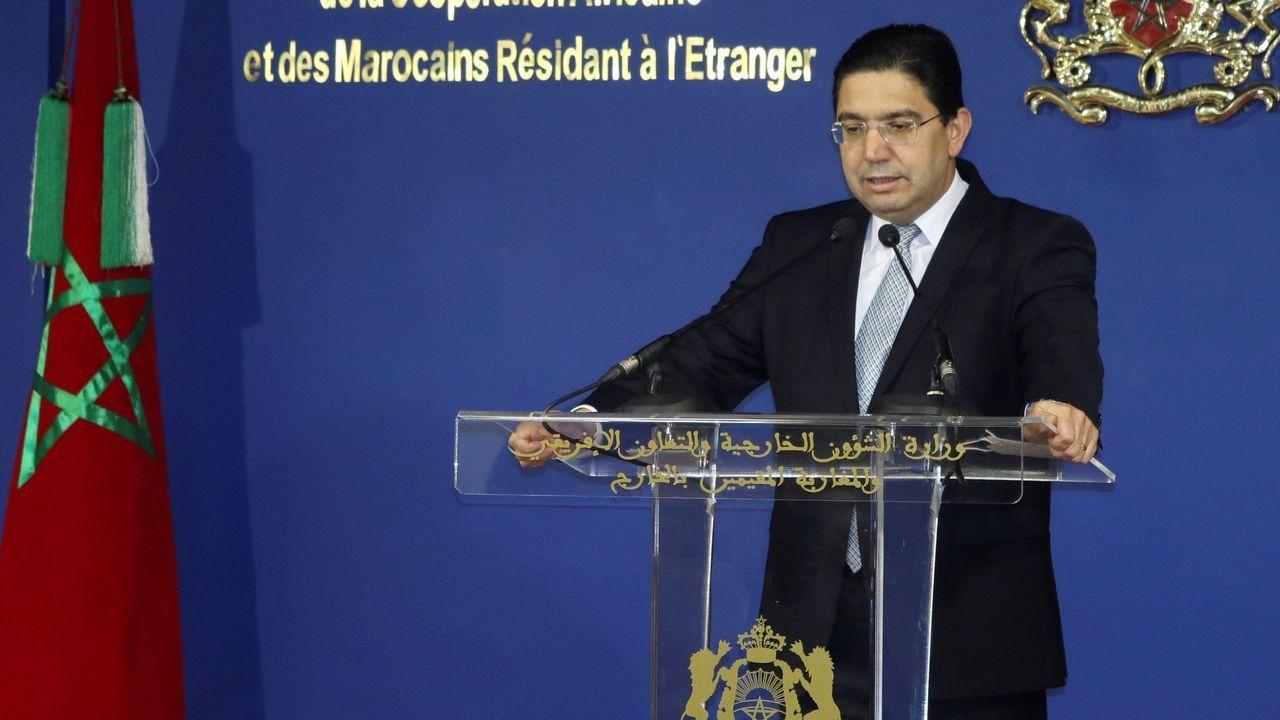 El ministro de Asuntos Exteriores de Marruecos, Naser Burita, este viernes, en Rabat