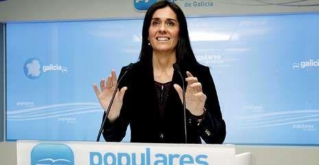 Paula Prado, en una rueda de prensa como portavoz del PPdeG, en febrero.