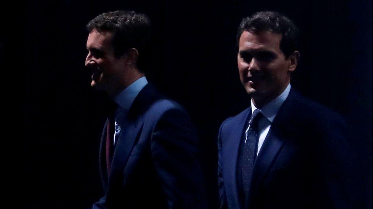 Casado y Rivera, antes del último debate por el 28A