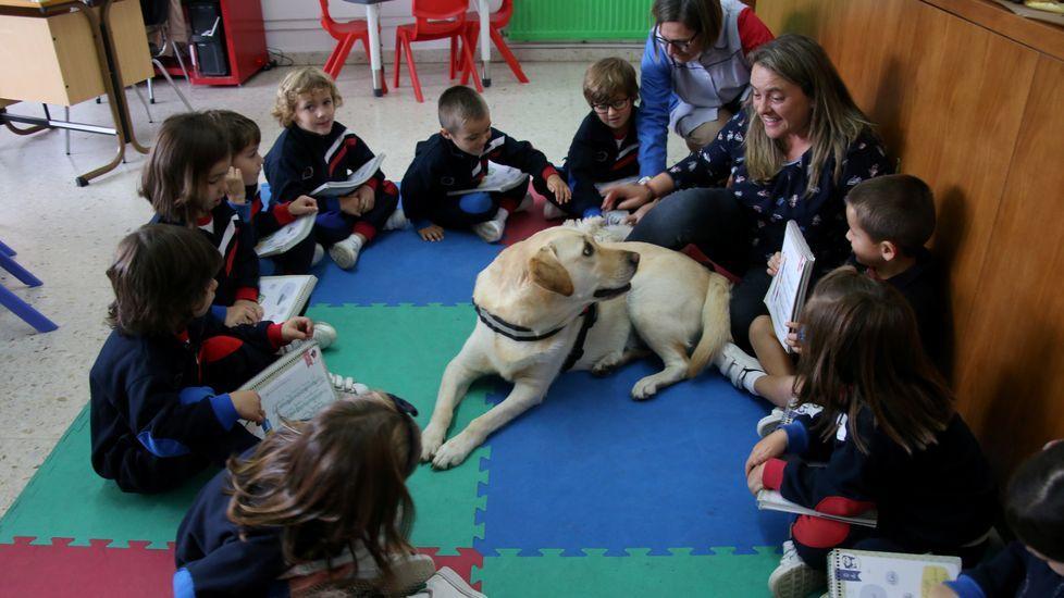 Curro, en el centro de la hora de lectura en la clase de infantil del Nosa Señora do Carmo de Betanzos