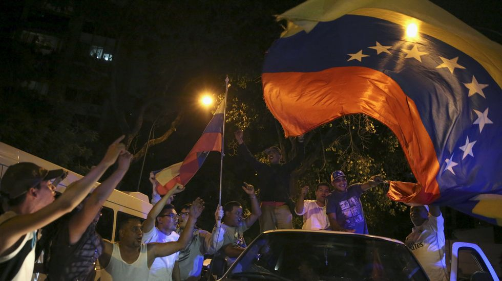 Celebraciones de los opositores en Venezuela