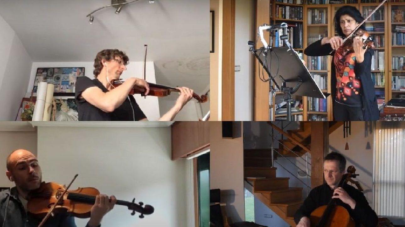 Músicos de la Orquesta Sinfónica de Galicia homenajean a Julio Andrade.Equipo de A Pulpeira de Melide de A Coruña