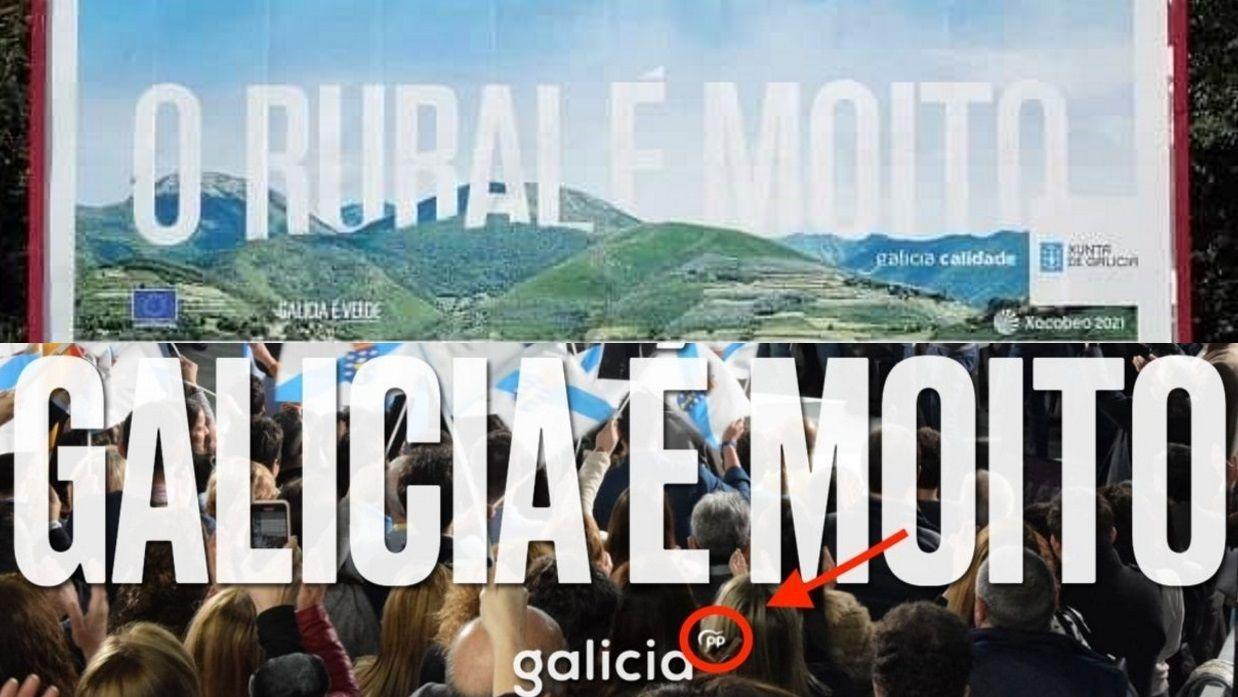 Otra promoción polémica en la precampaña de las elecciones aplazadas de abril: arriba, la campaña «O rural é moito» que hizo la Xunta de Galicia. Abajo, el eslogan de entonces para el PP,  que incluía el logo del partido: «Galicia é moito»