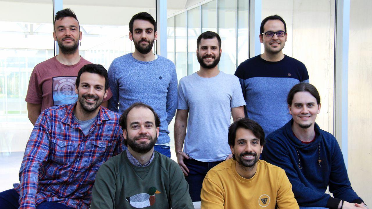 Los componentes de la compañía ALiCE Biometrics. Abajo a la izquierda, Mikel Díaz