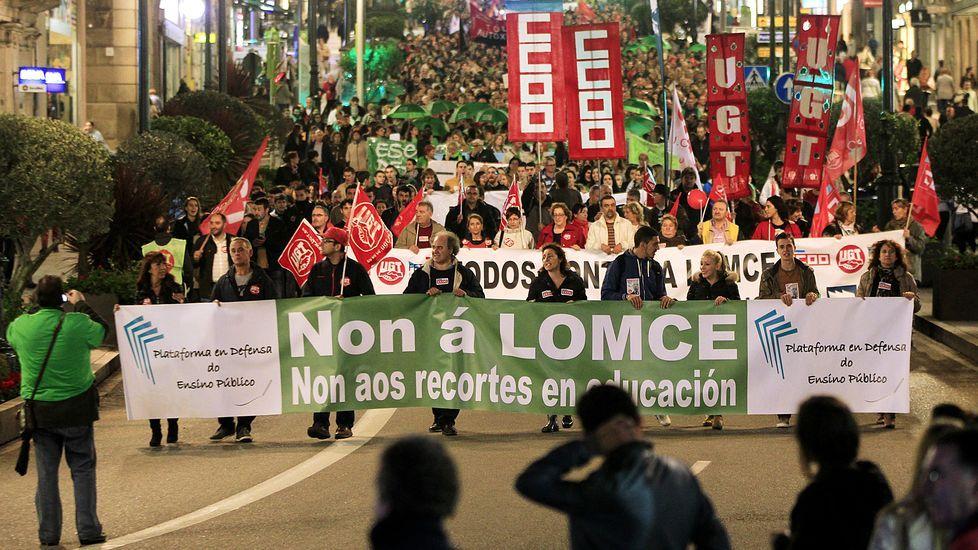 Manifestación contra la Lomce en Vigo en octubre del 2013. La conocida como ley Wert resultó muy polémica desde el primer momento