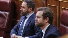 Santiago Abascal e Iván Espinosa de los Monteros, en la sesión de control del Congreso