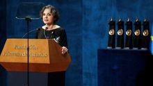La bióloga argentina Sandra Myrna Díaz, Premio Princesa de Asturias de Investigación Científica y Técnica 2019, interviene en la ceremonia de entrega de los Premios Princesa de Asturias 2019 que se celebra este viernes en el Teatro Campoamor de Oviedo