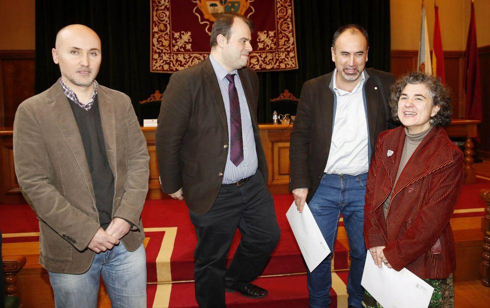 Álvaro García, Diego Conde, Melchor Fernández y Ana Isabel García, ayer en Fonseca.