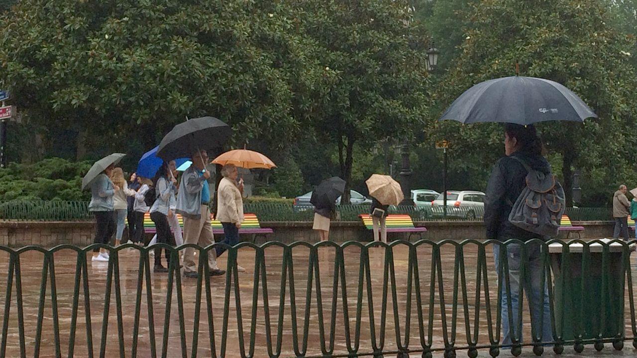 Ola de calor en Europa.Oviedo en un día de lluvia