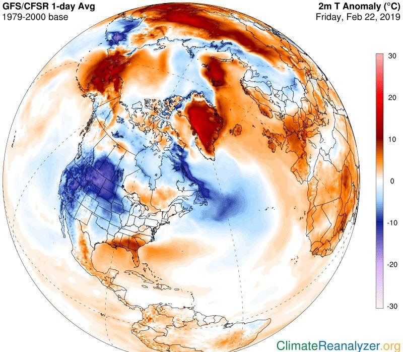 Anomalía de temperaturas en el hemisferio norte.Anomalía de temperaturas en el hemisferio norte