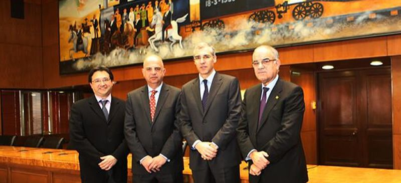Lo más visto del 2013 en Vigo.Firma del contrato de Pemex con Barreras. En la foto, José Manuel Carrera, Carlos Roa, Francisco Conde y José García Costas