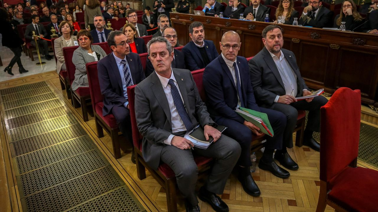 Imagen de los líderes independentistas juzgados en el Tribunal Supremo, en febrero del 2019