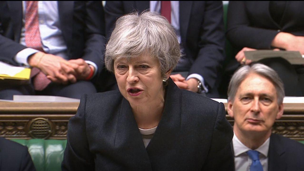 Theresa May, durante la sesión de este jueves en Westminster