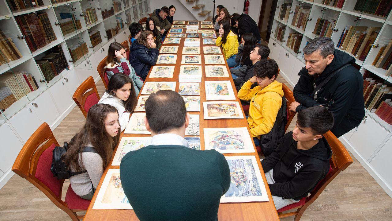 Visita de escolares al Museo del Gravado y un obradoiro dePaco Casal