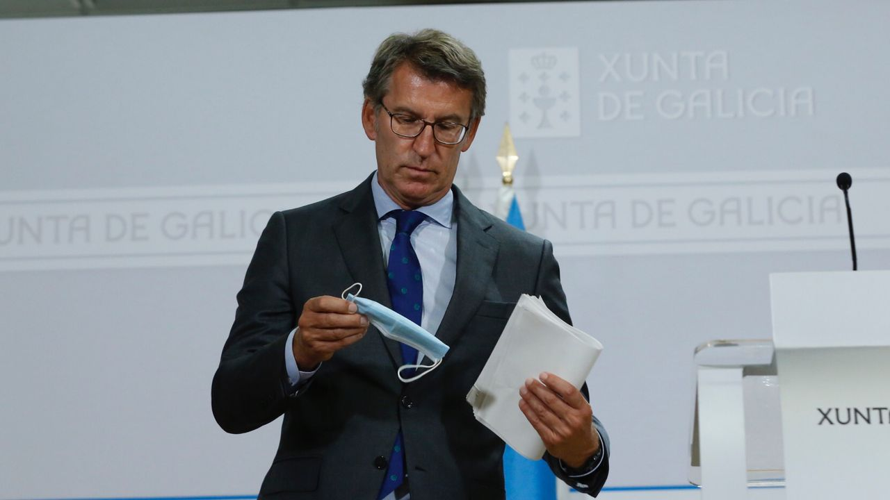 Feijoo, en la rueda de prensa sobre la situación del covid en Galicia