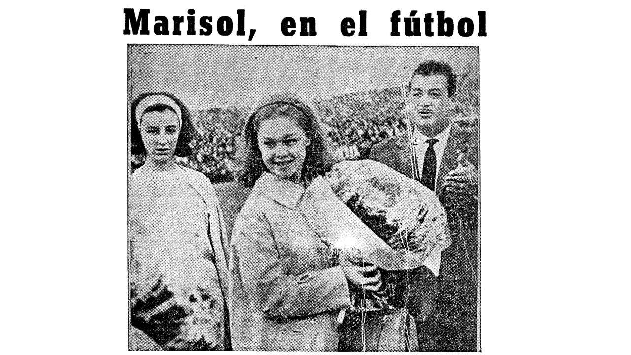 Marisol hizo el saque de honor en el estadio de La Rosaleda el 29 de noviembre de 1963