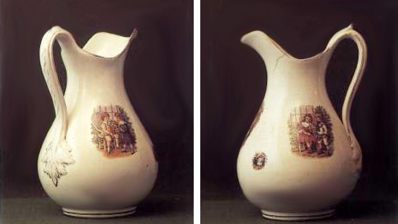 ¿Qué es «Piñatex»?.Un jarro de la fábrica de loza de San Claudio comprado en Oviedo en 1920. Una pieza poco habitual, con niños vestidos con ropa victoriana. Los dibujos son de procedencia inglesa