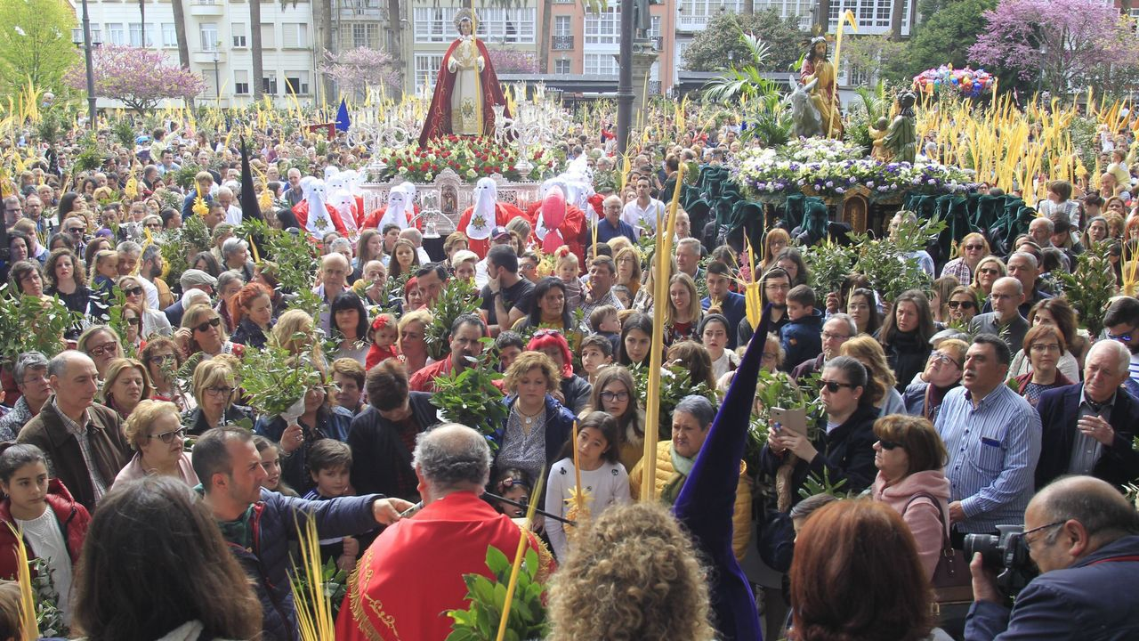 En la imagen, la bendición de las palmas en el Domingo de Ramos del año 2019