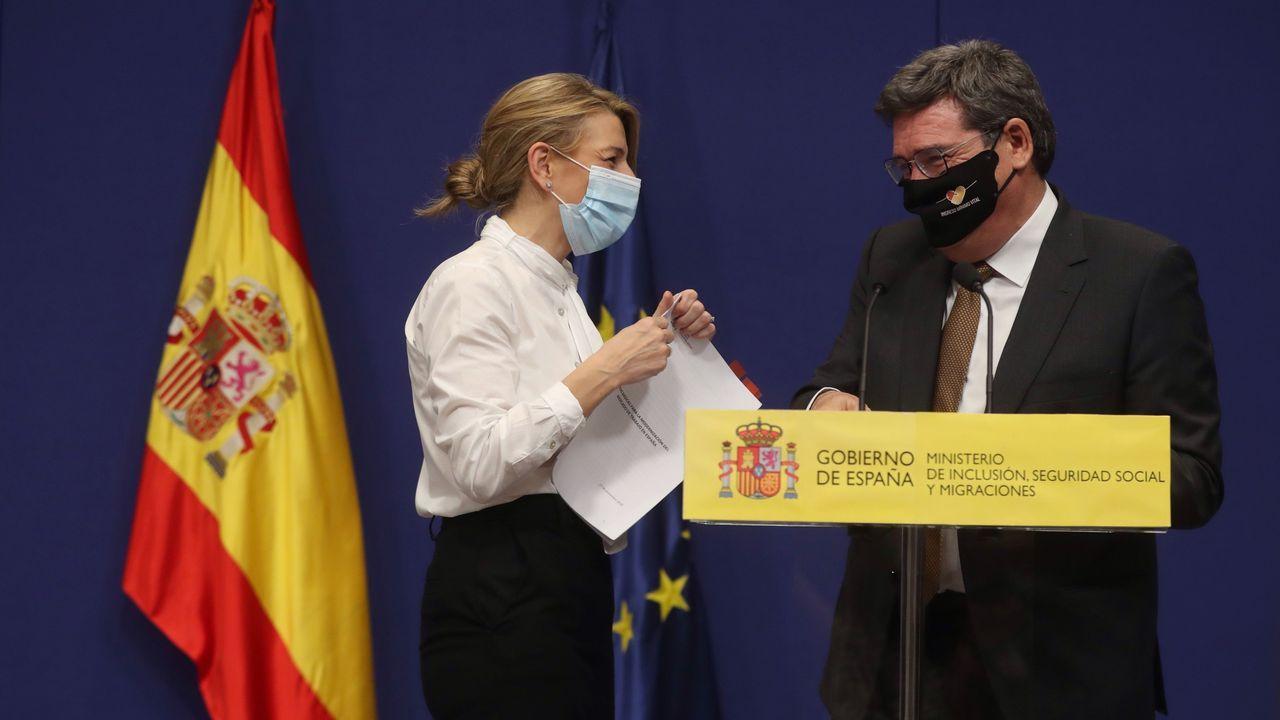 El vicepresidente segundo del Gobierno, Pablo Iglesias, durante su intervención en la reunión de embajadores de España celebrada este martes