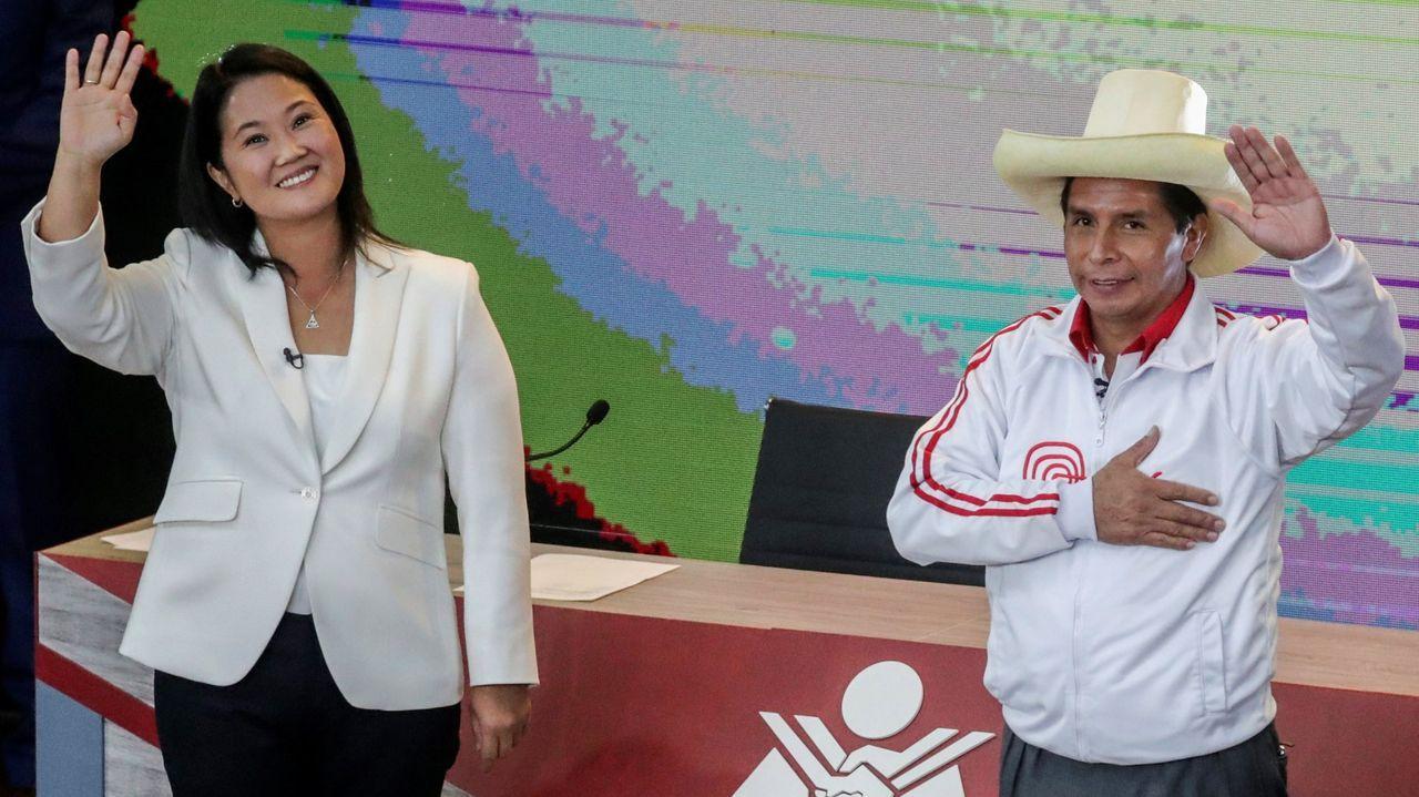 Keiko Fujimori y Pedro Castillo, en su último debate electoral