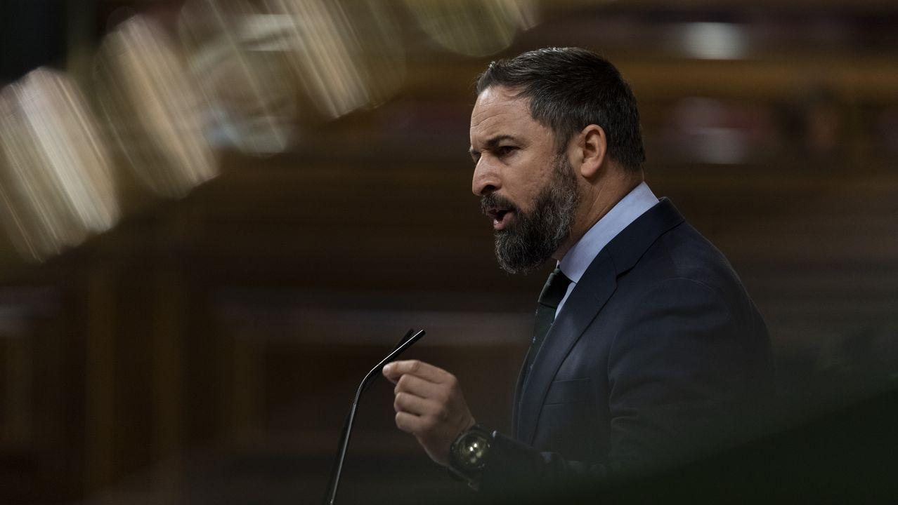 El presidente de Vox, Santiago Abascal, interviene desde la tribuna en una sesión plenaria en el Congreso, en Madrid