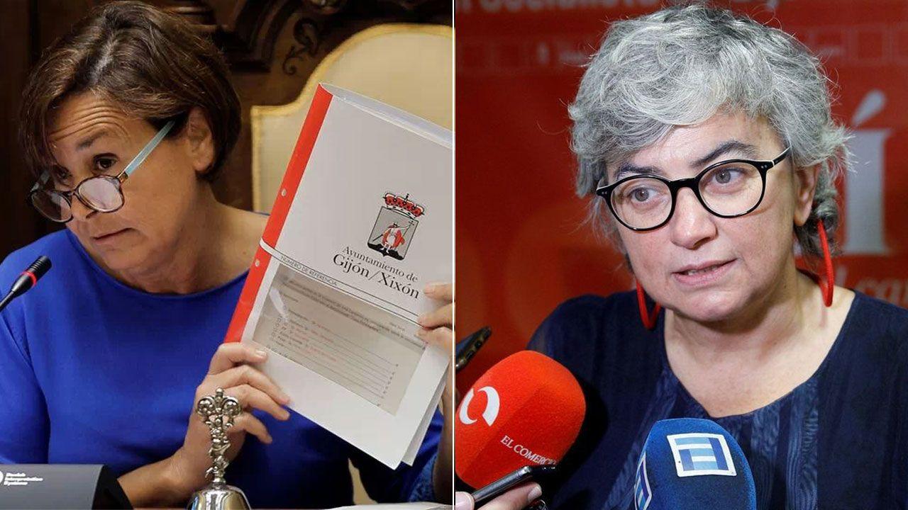 Estado en el que se encuentra la placa que recuerda a las mujeres fusiladas por el franquismo en Gijón, con la tierra removida en su base.Carmen Moriyón y Ana González