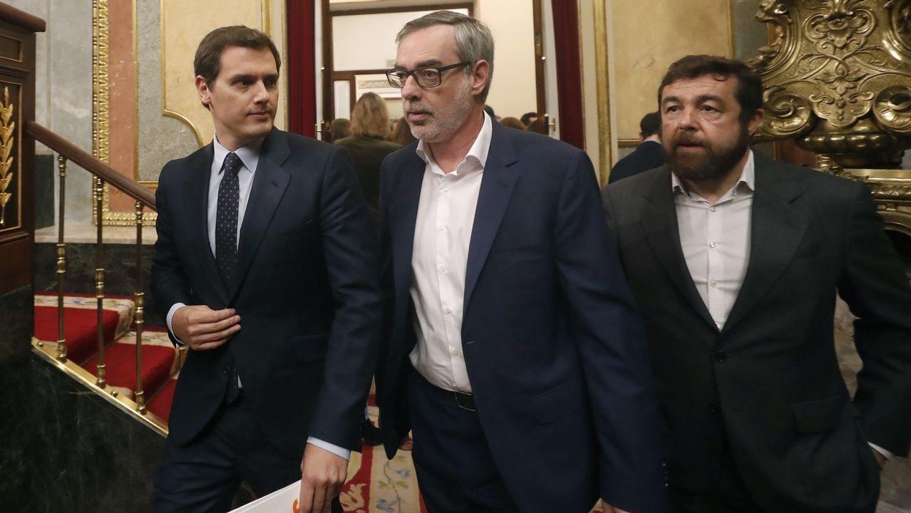 Albert Rivera junto a Villegas y Gutiérrez.
