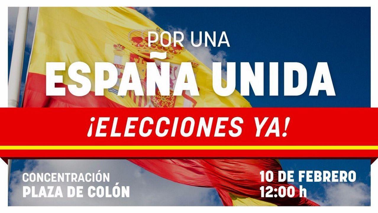 El lema y el cartel de la concentración de Madrid, protagonizado por una bandera española