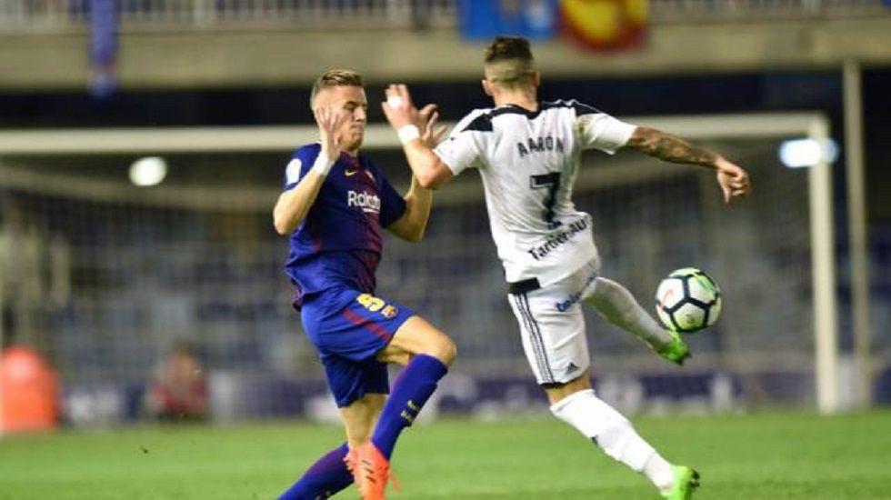 Aaron Horizontal.Aaron durante el encuentro frente al Barcelona B