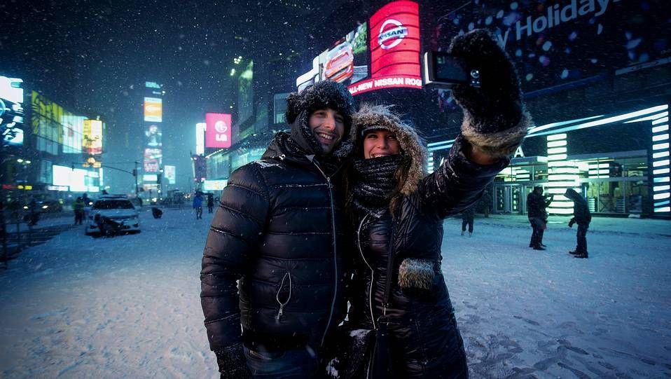 Nieve en Times Square