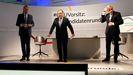 Friedrich Merz, Armin Laschet y Norbert Roettgen, el pasado 8 de enero, en un debate sobre la sucesión de Merkel al frente de la CDU