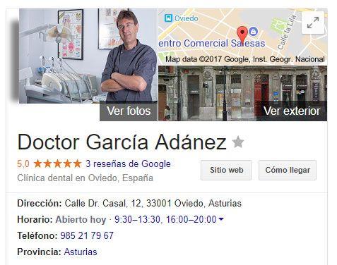 Ficha de la Clínica Dental Adánez en Google My Business