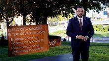 El presidente del Principado, Adrián Barbón, durante el discurso del pasado Día d'Asturies, bajo el texu d l'alcordanza