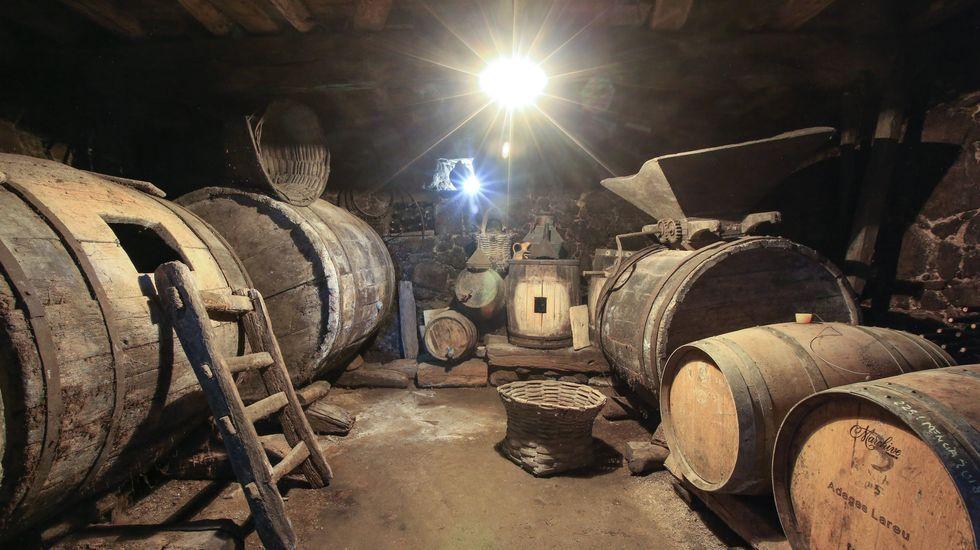 La antigua bodega de Primitivo Lareu, con las barricas de los vinos de crianza a la derecha