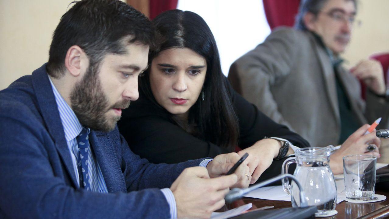 Los concejales de Ciudadanos, Vidal-Pardo y Olga Louzao