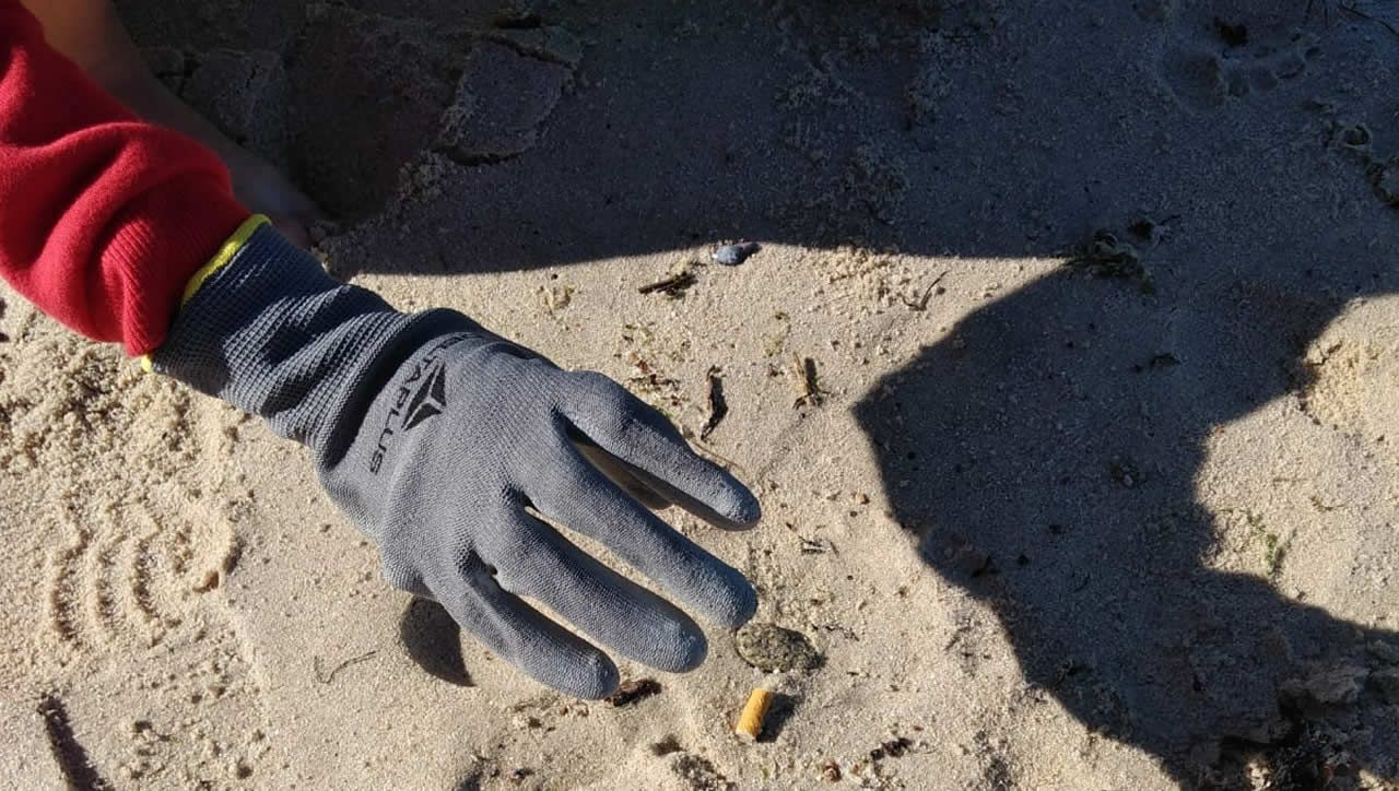 Voluntarios en la playa de Portocelo, en Marín