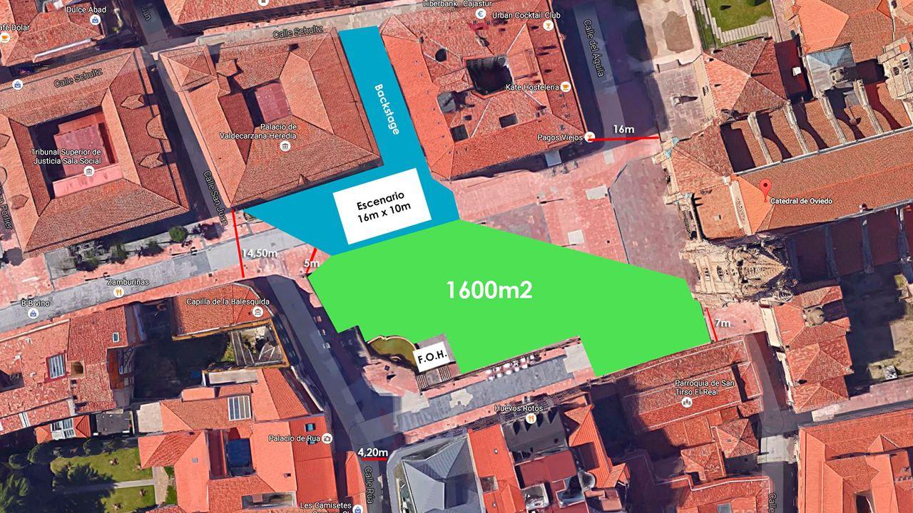 Plano de la plaza de la Catedral de Oviedo