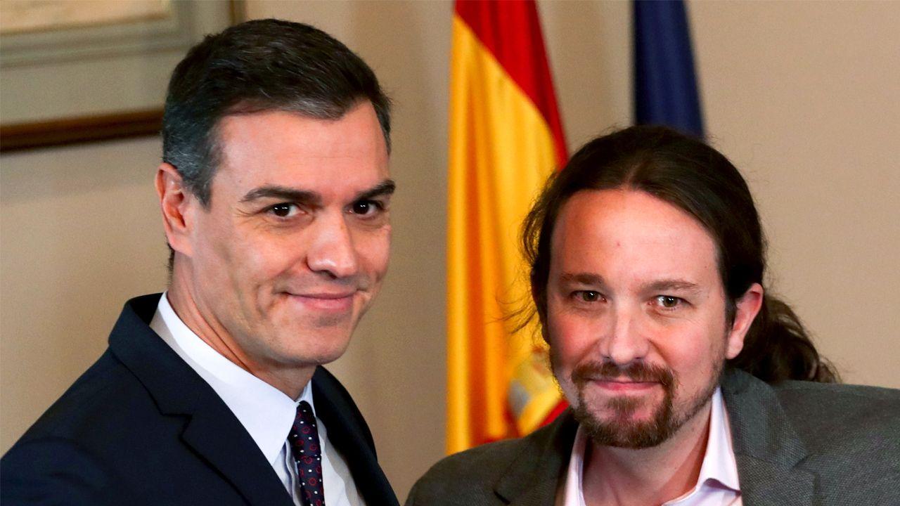Pedro Sánchez y Pablo Iglesias, en el acto de firma del preacuerdo para formar Gobierno
