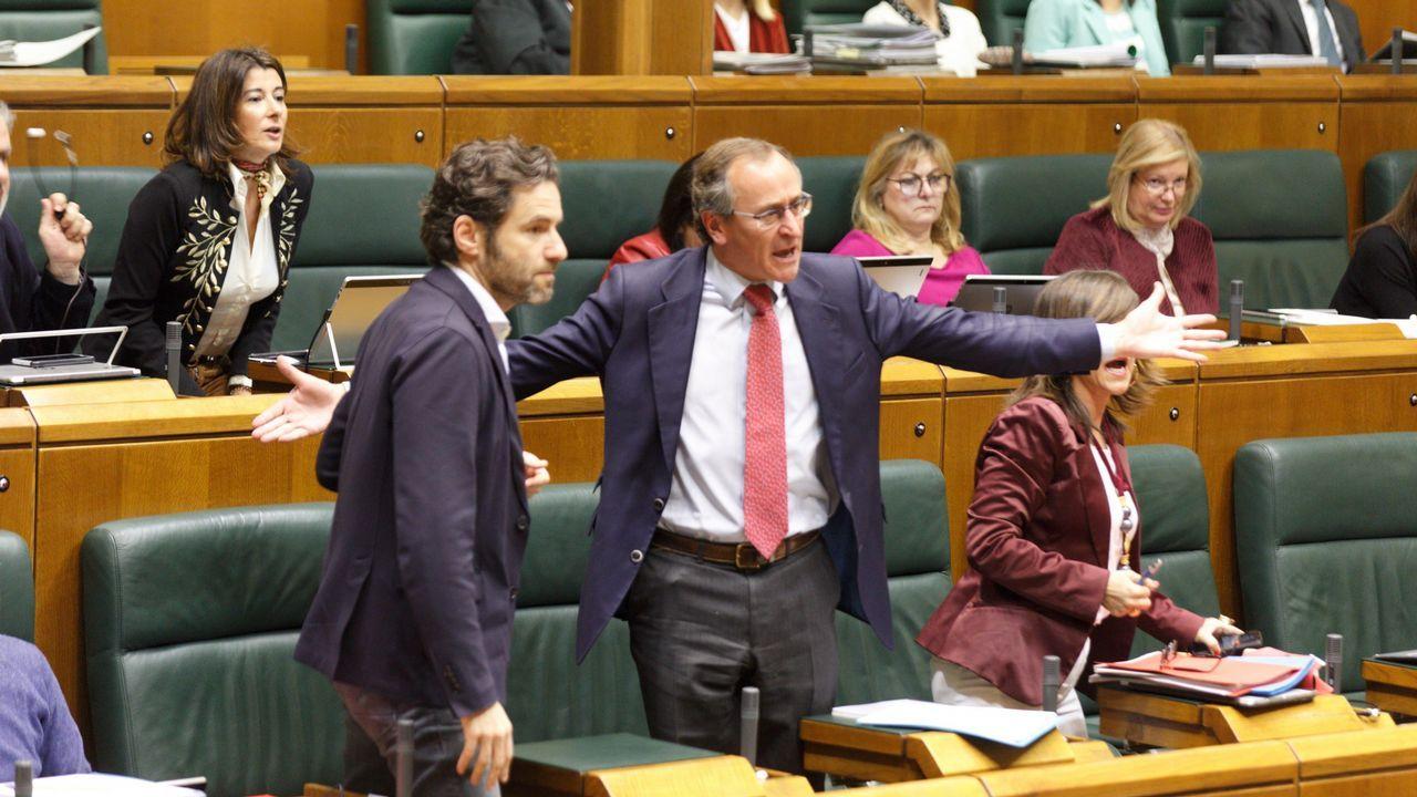 El diputado del PP Alfonso Alonso gesticula durante la sesión parlamentaria