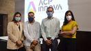 Noelia López, Ricardo Fra, José María Cancela y Lucía Saborido, ayer, en la presentación de la Cátedra ACP-Innova en la Casa das Campás